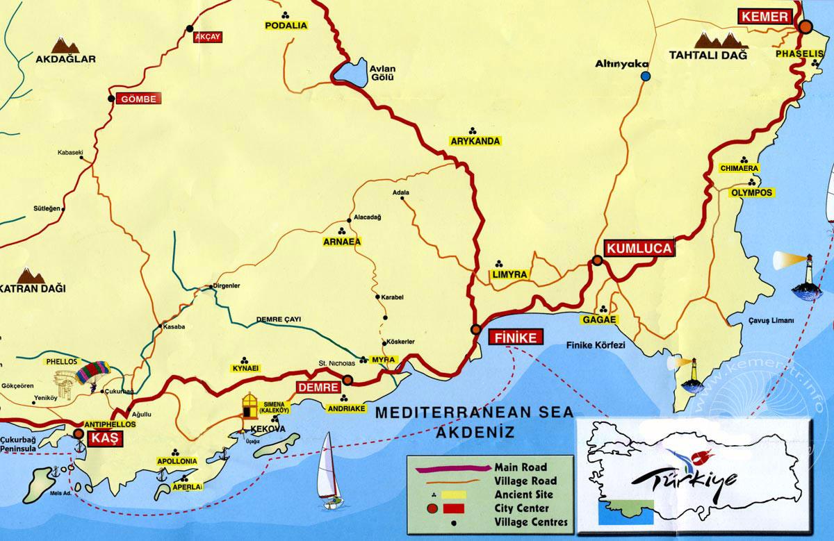 Die Lage Der Region Kemer Westlich Von Antalya An Der Turkischen